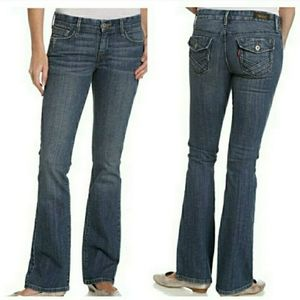 Levi's 547 darkwash flap pocket flare jeans